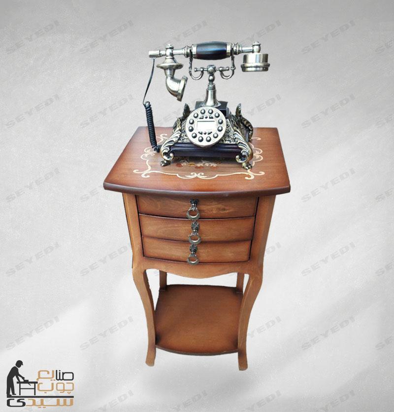 طاولة الهاتف المزخرفة ذات الثلاث أدراج